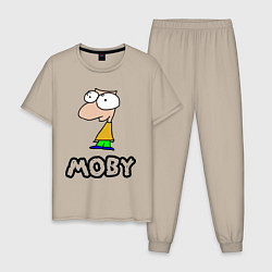 Пижама хлопковая мужская Moby цвета миндальный — фото 1