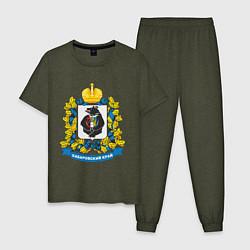 Пижама хлопковая мужская Хабаровский край цвета меланж-хаки — фото 1