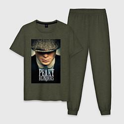 Пижама хлопковая мужская Peaky Blinders цвета меланж-хаки — фото 1