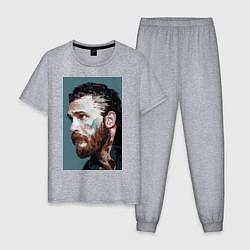 Пижама хлопковая мужская Том Харди Ван Гога цвета меланж — фото 1