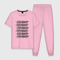 Пижама хлопковая мужская Paparoach Gaps цвета светло-розовый — фото 1