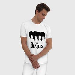 Пижама хлопковая мужская The Beatles: Faces цвета белый — фото 2