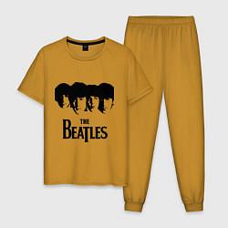 Пижама хлопковая мужская The Beatles: Faces цвета горчичный — фото 1