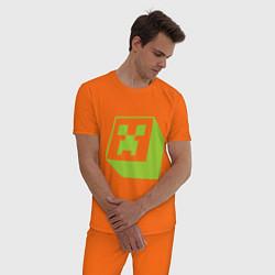 Пижама хлопковая мужская Green Creeper цвета оранжевый — фото 2
