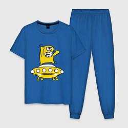 Пижама хлопковая мужская Пришелец Саня цвета синий — фото 1