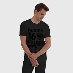 Пижама хлопковая мужская Region 16 Rulezz цвета черный — фото 2