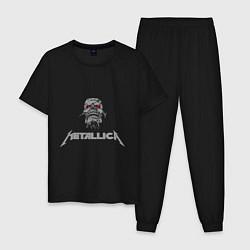Пижама хлопковая мужская Metallica scool цвета черный — фото 1