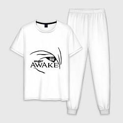 Пижама хлопковая мужская Skillet awake цвета белый — фото 1