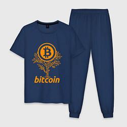 Пижама хлопковая мужская Bitcoin Tree цвета тёмно-синий — фото 1