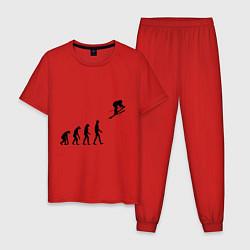 Пижама хлопковая мужская Эволюция лыжник цвета красный — фото 1