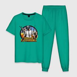 Пижама хлопковая мужская PUBG Mission цвета зеленый — фото 1