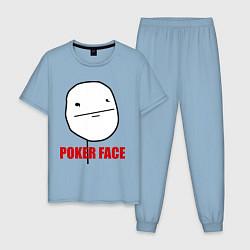 Пижама хлопковая мужская Poker Face цвета мягкое небо — фото 1