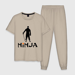 Пижама хлопковая мужская Black Ninja цвета миндальный — фото 1