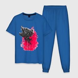 Пижама хлопковая мужская Рев медведя цвета синий — фото 1