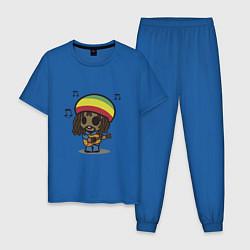 Пижама хлопковая мужская Маленький Боб Марли цвета синий — фото 1
