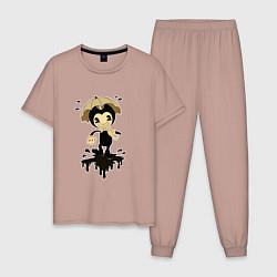 Пижама хлопковая мужская Bendy and the ink machine цвета пыльно-розовый — фото 1