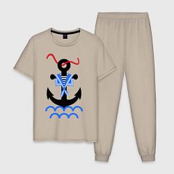 Пижама хлопковая мужская Морской якорь цвета миндальный — фото 1