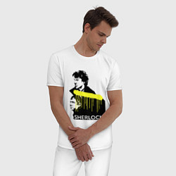 Пижама хлопковая мужская Sherlock: Yellow line цвета белый — фото 2