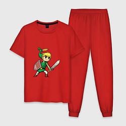 Пижама хлопковая мужская Линк цвета красный — фото 1