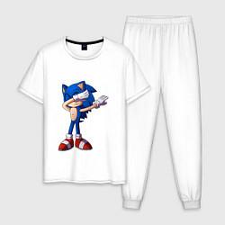 Пижама хлопковая мужская Sonic dab цвета белый — фото 1