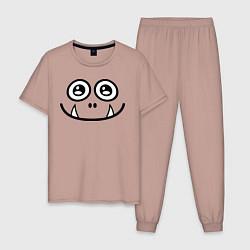 Пижама хлопковая мужская Добрый монстрик цвета пыльно-розовый — фото 1