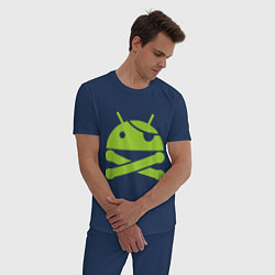 Пижама хлопковая мужская Android super user цвета тёмно-синий — фото 2