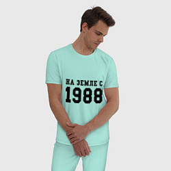 Пижама хлопковая мужская На Земле с 1988 цвета мятный — фото 2