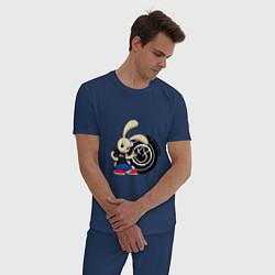 Пижама хлопковая мужская Blink-182: Street rabbit цвета тёмно-синий — фото 2