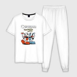 Пижама хлопковая мужская Cuphead Mugman цвета белый — фото 1