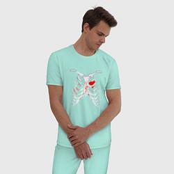 Пижама хлопковая мужская TOP Skeleton цвета мятный — фото 2