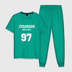 Пижама хлопковая мужская Jungkook 97 цвета зеленый — фото 1