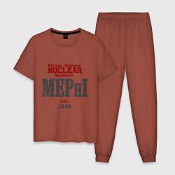 Пижама хлопковая мужская MEPHI цвета кирпичный — фото 1