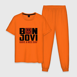 Пижама хлопковая мужская Bon Jovi: Nice day цвета оранжевый — фото 1