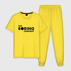 Пижама хлопковая мужская The boring company цвета желтый — фото 1