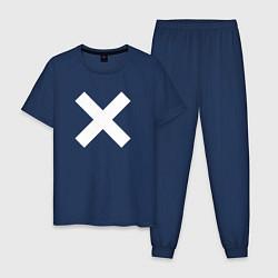 Пижама хлопковая мужская The XX: White X цвета тёмно-синий — фото 1