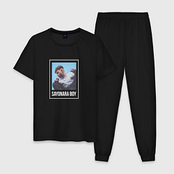 Пижама хлопковая мужская Eldzhey: Sayonara Boy цвета черный — фото 1