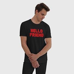 Пижама хлопковая мужская Hello Friend цвета черный — фото 2
