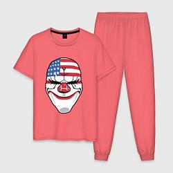Пижама хлопковая мужская American Mask цвета коралловый — фото 1