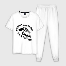 Пижама хлопковая мужская Clyde цвета белый — фото 1