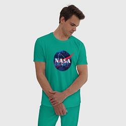 Пижама хлопковая мужская NASA: Cosmic Logo цвета зеленый — фото 2