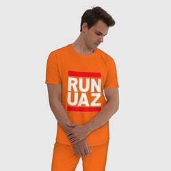 Пижама хлопковая мужская Run UAZ цвета оранжевый — фото 2