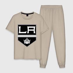 Пижама хлопковая мужская Los Angeles Kings цвета миндальный — фото 1
