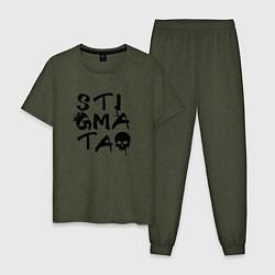 Пижама хлопковая мужская Stigmata цвета меланж-хаки — фото 1