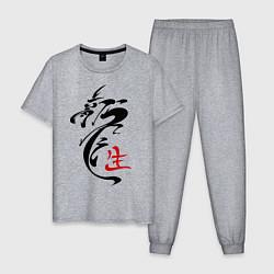 Пижама хлопковая мужская Иероглиф дракон цвета меланж — фото 1