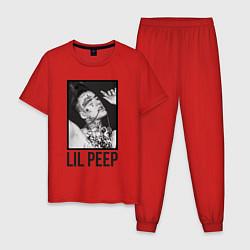 Пижама хлопковая мужская Lil Peep: Black Style цвета красный — фото 1