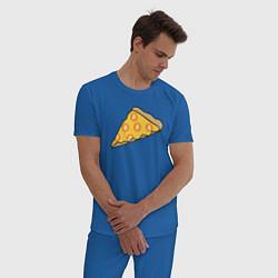 Пижама хлопковая мужская Bitcoin Pizza цвета синий — фото 2