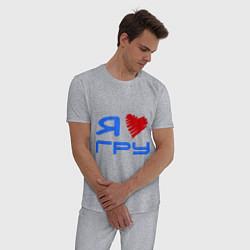 Пижама хлопковая мужская Я люблю ГРУ цвета меланж — фото 2