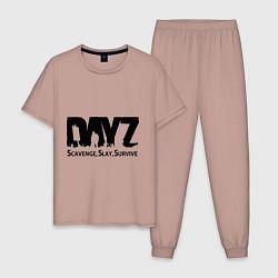 Пижама хлопковая мужская DayZ: Slay Survive цвета пыльно-розовый — фото 1
