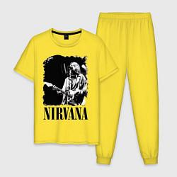 Пижама хлопковая мужская Black Nirvana цвета желтый — фото 1