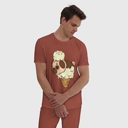 Пижама хлопковая мужская Мопс-мороженое цвета кирпичный — фото 2